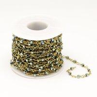 bracelets enroulés jaune achat en gros de-3mm, Bracelet de perles de cube en hématite naturel plaqué vert jaune lisse vert, Chaînes de perles de liens carrés en laiton doré
