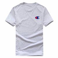 polo boyun tişörtleri toptan satış-Toptan Avrupa Boyutu Yeni Klasik Marka erkek Yuvarlak Boyun T-Shirt Sokak Kısa Kollu Polo Gömlek Gömlek Üst