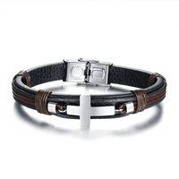 bracelet réglable couleur achat en gros de-Bracelet pour homme en cuir poignet noir couleur Bracelet en acier inoxydable croix bracelet Punk Style Bracelet réglable mâle Pulseira cadeau
