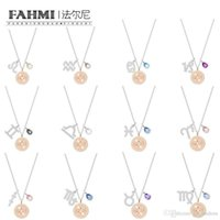zodiac aquarius achat en gros de-FAHMI SWA ZODIAC 12 Constellation Collier Femme intelligente Clavicule chaîne Lion Verseau Cancer Capricorne Gémeaux Balance Poissons Bélier