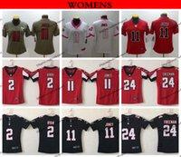 negro camiseta de julio jones al por mayor-Womens Atlanta Ladies Falcons 2 Matt Ryan 11 Julio Jones 24 Devonta Freeman Jersey de fútbol rojo negro