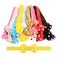 tupfen haarbögen großhandel-2,75 Zoll Kinder süße kleine Bogen elastische Haarbänder Polka Dot 20 Farbe Grosgrain Ribbon Bows Stirnband Haarschmuck