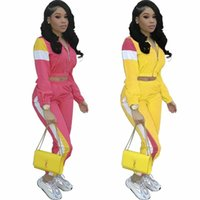 3ad6eb5ee29 Red and Yellow S M L XL XXL XXXL Women Fashion Long Sleeves Zipper Color  Block Casual Jumpsuit Tracksuit 2pcs