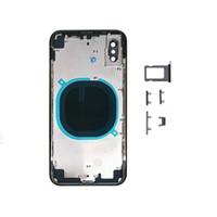 iphone oem zurück großhandel-30PCS OEM Qualität Batterieabdeckung rückseitige Abdeckung Chassis für iphone X Gehäuserück Türzarge mit Kartenbehälter + Taste