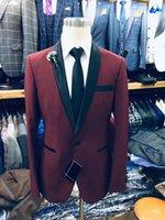 homens branco slim fit tuxedo venda por atacado-Borgonha Vermelho Branco Homens Terno para Calças De Casamento Xale Lapela Noite Formal Homens Blazer Terno Masculino Slim Fit Prom Tuxedo Casaco