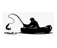 pegatinas de vinilo de pesca al por mayor-15 * 8 CM Pescador Pesca A Bordo Calcomanías de vinilo Pegatinas de Coche CA-1090