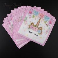ingrosso carta magica-MagiDeal 16 pezzi Lovely Magical Unicorn Tovagliolo di carta per bambini Birthday Party Tableware