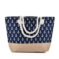 якорные сумочки оптовых-2019 Лето Canvas Capacity Shopping Beach Bag Сумки с якорным рисунком Женская большая сумка через плечо | qq2144 J190627