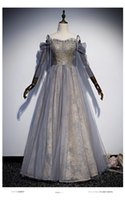 Wholesale women fairy princess gown online – ideas 100 real grey fairy gown beading long dress royal princess Medieval Renaissance Victorian dress stage studio