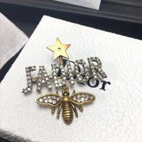 Wholesale pins animal jewelry resale online - Fashion Luxury Brooches Jewelry for Women Retro Copper Color Bee Designer Brooch Pins with Star Crystal Diamond Gold Gift with Box
