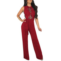 737bba58ac91 bodycon sheer jumpsuits NZ - Sexy Women Bodycon Sheer Lace Jumpsuit O Neck  Sleeveless Sashes Wide