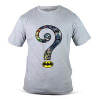 tomada cinzenta venda por atacado-079-Gy Outlet de Fábrica Riddler Celebridade Superhero Cinza Dos Homens T-Shirt T Shirt Barato Roupas de Algodão Plus Size Manga Curta Feitos Sob Encomenda Camisetas Engraçadas