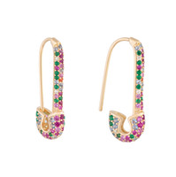 Wholesale earrings rainbow for sale - Group buy rainbow fashion women earring latest new design safety pin shape ear wire Gold plated trendy gorgeous women jewelry