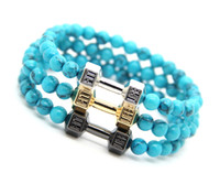 Wholesale dumbbell beads for sale - Group buy Ailatu mm Simulated Stone Beads with Alloy Fitness Dumbbell Bracelets Powerful Barbell Jewelry for Men s Gift