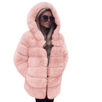 venda casaco coreano venda por atacado-Venda Popular! Mulheres Coreanas Moda de Luxo Faux Fur Coat Com Capuz Outono Inverno Casaco QuenteComfortbal TOP Casual