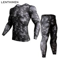 Wholesale mens long sleeve compression shirts resale online - Camouflage Mens Compression Shirt Pants Set Running Tight Suit Long Sleeves Shirts Leggings Sport Suits Men Gym Workout Clothing