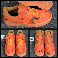 camo sapatos laranja execução venda por atacado-2019 Mens Womens 1 tênis de corrida RealTree Camo cestas de laranja Casual Sports Sneakers Formadores meninos Zapatos des chaussures Schuhe