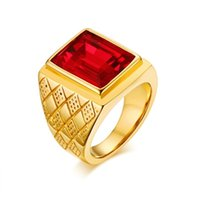 Wholesale square cut engagement rings for sale - Group buy Men Rings Gold color Square Cut Red CZ Rhinestone Ring Stainless Steel Wedding Engagement Bands Fashion Jewelry