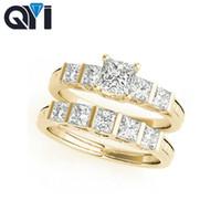 fantastische diamantringe großhandel-QYI 10 Karat Gelbgold Fancy Form Verlobungsring Setzt Platz Cut 0.5ct Sona Simuliert Diamant Frauen Engagement Ehering