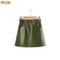 корейская зеленая юбка оптовых-Женщины Кожа Юбка 2019 Осень Дамы Мини юбка Sexy Green высокой талией юбка-карандаш корейский Hy149