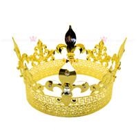 imparatorluk kronu taç toptan satış-Erkekler Tiara King Taç Emperyal Ortaçağ Taçlar cosplay Modeli Gösterisi Kraliçe Saç Takı Altın Prens Hairwear Vintage Taçlar Mo198