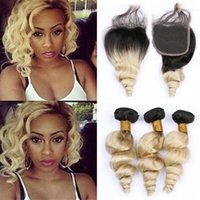 Wholesale two toned loose wave ombre hair resale online - Two Tone B Ombre Loose Wave Human Hair Bundles with Lace Closure Platinum Blonde Wavy Virgin Hair Weave with Closure