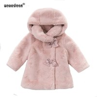 Wholesale baby girl corduroy dress for sale - Group buy WEONEDREAM Girls Fur Coat With Bow Autumn Winter Wear Clothes Baby Girl Faux Fur Dress Style Jacket Children Kids Clothing