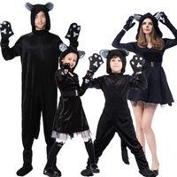 kadınlar için siyah kedi kostümleri toptan satış-Aile Oynarken Sahne Sahne Kostüm Cadılar Bayramı Siyah Kedi Şeytan Araya Sahne Performansı Giyim kadınlar için cosplay