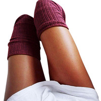 medias hasta el muslo gratis al por mayor-Venta al por mayor 2019 NUEVA MODA CALIENTE Chicas Señoras Mujeres Muslo Alto Sobre la Rodilla Calcetines Medias de Algodón Largas Envío Gratis # Z5