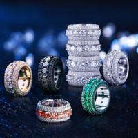 homens zirconia cúbicos anéis de ouro venda por atacado-2019 anel de ouro dos homens hip hop gelado out anéis micro pave cubic zircon promessa diamante anéis de dedo designer de luxo marca personalidade presente