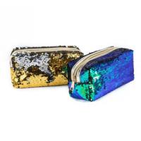 porta-lápis com zíper venda por atacado-Criativo saco de armazenamento de maquiagem Sequin Dupla Cor Cosméticos Saco Organizador Zipper Papelaria Lápis Caso Titular Ferramentas de Viagem Ao Ar Livre