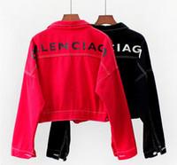 ingrosso giacca jeans disegni-Giacche stampate designer donna Harajuku Giubbotto donna giacca cardigan con cerniera design Giacche da baseball Jeans donna Casual donna