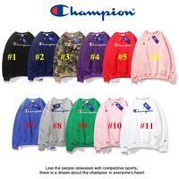 gefüttertes sweatshirt großhandel-11 Farben-Champion Marke Fleece Pullover Männer Frauen Pullover Pullover mit Fleece-Futter Blusen Luxus Sweatshirt Hip Hop Sport Tops Cloth C92408