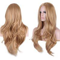 camadas de cabelo castanho venda por atacado-Detalhes sobre Sexy Marrom Longo Cabelo Loiro Peruca Real Luxo Curly ondulado Camada Cosplay Perucas