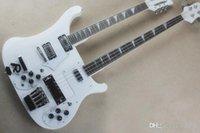 ingrosso cavi elettrici a 12 corde-Hot Chitarre Elettriche Bianco doppio manico della chitarra elettrica con bianco Pickguard, tastiera in palissandro, 12 corde + 4 corde, offrendo serv personalizzato