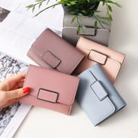 el yapımı bayanlar cüzdanları toptan satış-Moda trendi kadın hasp cüzdan PU şeker renk çanta kısa bayanlar el yapımı mavi cüzdan ücretsiz kargo