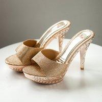 стилетные шлепанцы оптовых-женская обувь вьетнамки на высоком каблуке повседневные одиночные сандалии Stiletto женские тапочки туфли домашние домашние тапочки