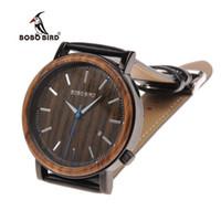relógios bobo venda por atacado-BOBO PÁSSARO Luxo Mens Relógios De Madeira Pulseira De Couro Genuíno De Madeira relógio de Pulso Japão Mover 'Quartz Masculino Relogio C-O27 DROP SHIPING