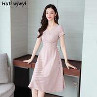 vintage boho vestidos rosa al por mayor-Más el tamaño del verano Vintage Pink Plaid Sexy Midi camisa vestido 2019 mujeres coreanas elegante Bodycon Boho Beach Sundress Party Vestidos