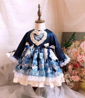 urso de arco de bebê venda por atacado-bebê desenhador menina roupas vestido Espanha Estilo boutique manga comprida Urso Imprimir Voltar Big Bow design do vestido menina menina roupas vestido