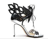 sandalet kes toptan satış-Yaz kadın yüksek topuk sandalet yüksek topuk patent deri cut-out dantel-up gladyatör sandalet lady kişilik ince topuk