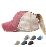 Ponytail hat Adjustable Sunshade Mesh Sun Hat Sport Accessories Mesh Ponytail Baseball Caps Fashion Snapback hats Outdoor Beach Cap TL1252
