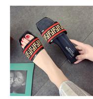 sapatos de borracha femininos venda por atacado-Moda FF Marca PU + Sandálias de Tecido Designer de Mulher Clássico Deslizamento Chinelo Não-slip Sandálias De Borracha Inferior Sapatilhas Femininas Sapatos de Praia C61005