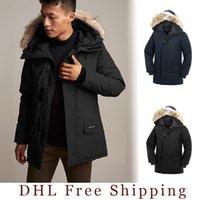 erkek ceketi dhl toptan satış-2019-2020 kanada erkekler langford parka Aşağı Ceket 90% Beyaz Kanadalı kumaş Açık ceket Uzun kapşonlu sıcak Doudoune DHL Ücretsiz Nakliye