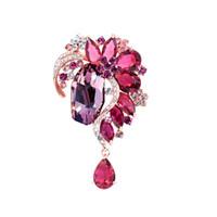 Wholesale swarovski jewelry red resale online - New Design Swarovski Crystals Brooches Red Pins for Women Girls Jewelry Gift Brooch Zircon Accessories