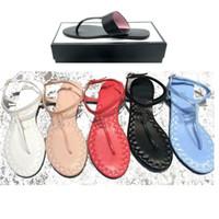 tangas mixtas al por mayor-2019 sandalias de tiras mezclan modelos de cuero de perlas de tiras de lujo de las mujeres de moda talón de lujo del diseñador sandalias de la señora zapatilla con tamaño de caja 36-45