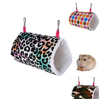 Wholesale hamster toys resale online - Small Animal Hamster Tunnel Leopard Print Camouflage Owl Heart Round Print Canvas Hedgehog Hammock Comfort Pet Toys S L wc E19