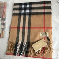 imprimé à carreaux en cachemire achat en gros de-Écharpe 100% cachemire pour homme et femme, écharpe classique, écharpe imprimée, étiquette originale, véritable créateur