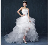 chiffon kurze kleider schwanz großhandel-Hochzeitskleid neue kurze kurze lange Schwanz Prinzessin flauschigen Kuchen Rock Rock Hochzeitskleid