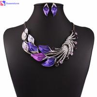 фиолетовые украшения павлина оптовых-Women Purple Peacock Enamel Festoon Bib jewelry Stud Set Geometric spell color enamel jewelry big vintage hit color #3-4